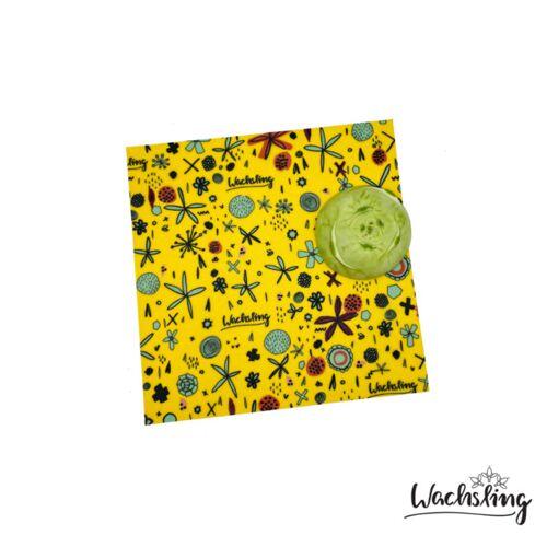 Wachsling 2er Set Handgemachte Bienenwachstücher Mittel Blumenwiese Gelb blumenwiese (gelb)