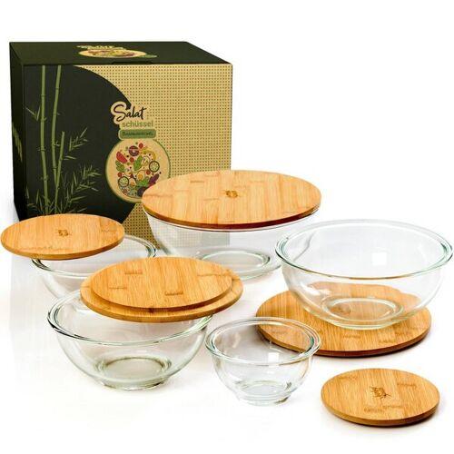 Bambuswald Salatschüssel Aus Glas Mit Deckel Aus Bambus In 5 Größen bambus 865ml