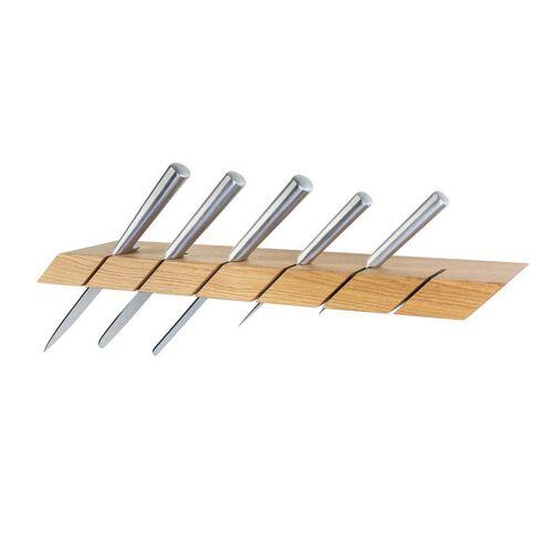 GreenHaus Messerhalter Wildeiche Für 6 Messer Massivholz Messerleiste