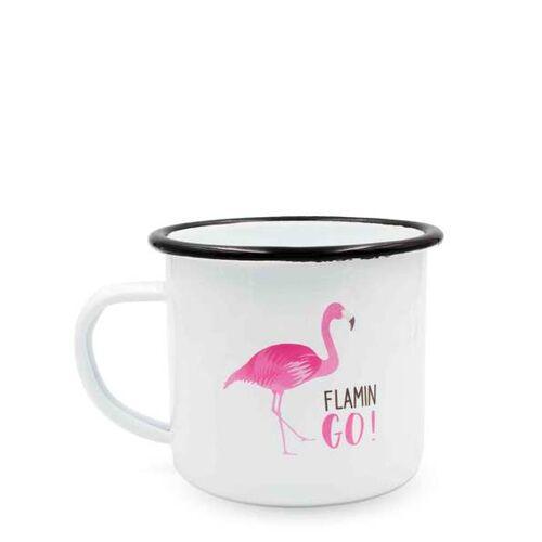 heyholi Enamel Cup   Emaille Becher, Kaffeetasse, Retro Tasse (Flamingo) flamingo