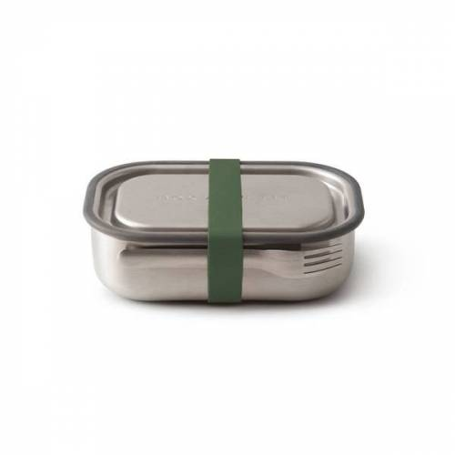 """Black + Blum Auslaufsichere Lunchbox """"Steel Lunch Box"""" Aus Edelstahl Inkl. Gabel olive"""