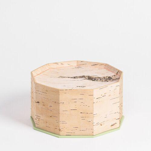 MOYA Birch Bark Brotdose / Brotkasten Aus Birkenrinde Klein Mit Schneidebrett - 23 x 23 x 13cm / Handgefertigt In Sibirien