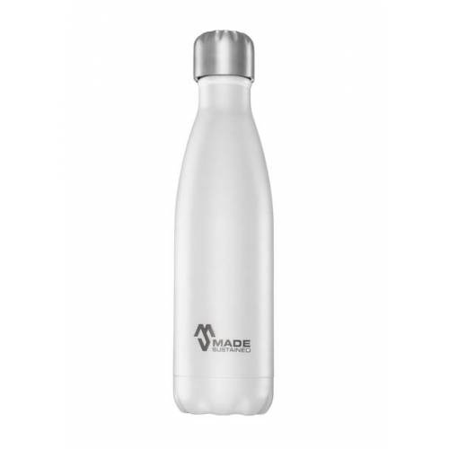 Made Sustained Plastikfreie Edelstahlflasche 0,5 L. Mit Deckel grau white