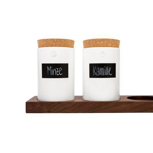klotzaufklotz Vorratsdosenregal Nussbaum weiße dosen 6 dosen (83cm)