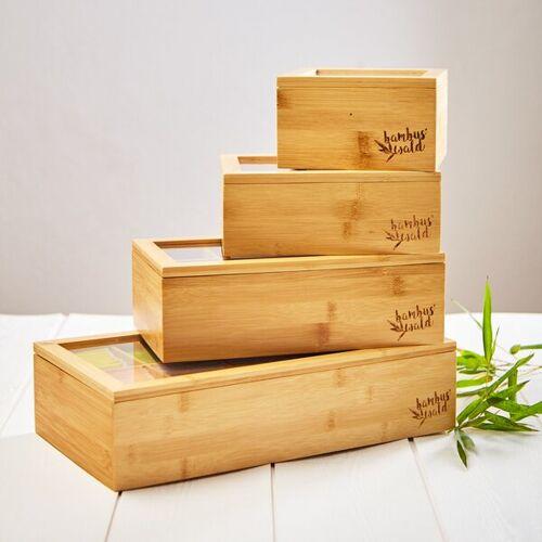 Bambuswald Teebox Aus 100% Bambus Mit 4 Bis 12 Fächern   Teekasten Teekiste bambus 6 fächer