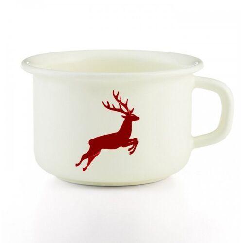 Riess Emaille Kaffeetasse weiß (hirsch/logo rot)