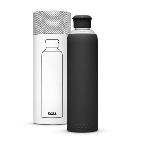 Doli Trinkflasche Aus Glas 1l Mit Schutzhülle, Bpa-frei Ohne Schadstoffe schwarz