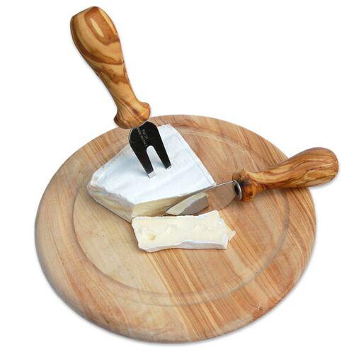 Olivenholz erleben 2er Set Käsebesteck Plus Teller Ø 22 Cm Olivenholz