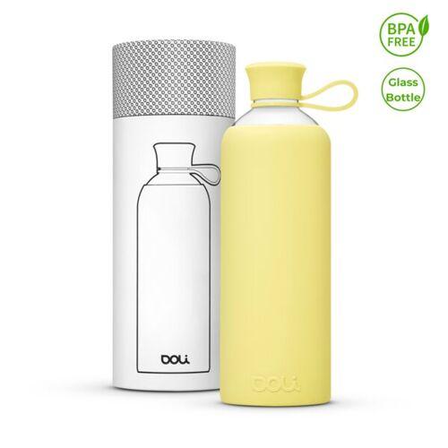 Doli Trinkflasche Glas 550ml, Umweltbewusst Bpa-frei Ohne Schadstoffe lemon 0,5l