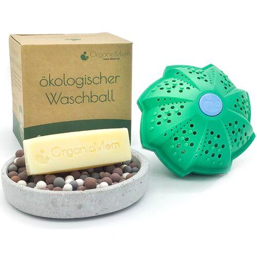 OrganicMom Öko-waschball Inkl. Veganer Palmölfreier Fleckenseife (Handgemacht)/ Waschen Ohne Waschmittel/ Waschkugel Antibakteriell/für Babys, Kinder Und Allergiker Geeignet/bpa Frei