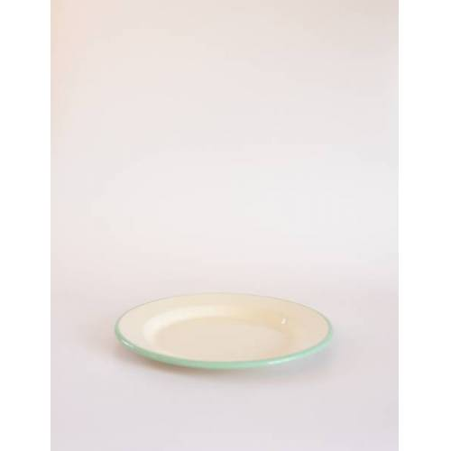 Muender Email Emaille Teller Flach 24cm mint/creme