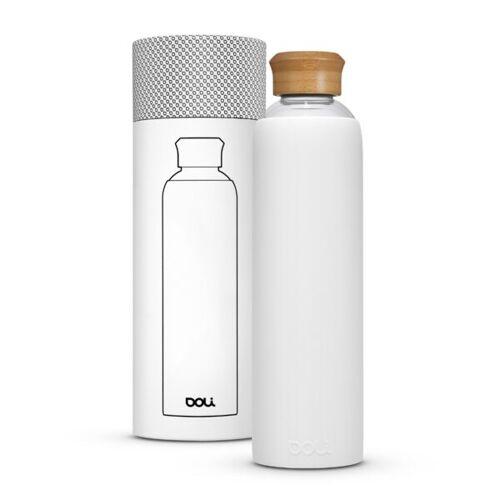 Doli Trinkflasche Aus Glas 1l Mit Schutzhülle, Bpa-frei Ohne Schadstoffe weiss (bamboo weiss)