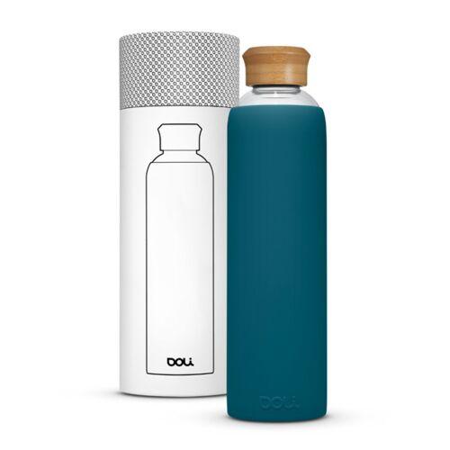 Doli Trinkflasche Aus Glas 1l Mit Schutzhülle, Bpa-frei Ohne Schadstoffe petrol (bamboo teal)