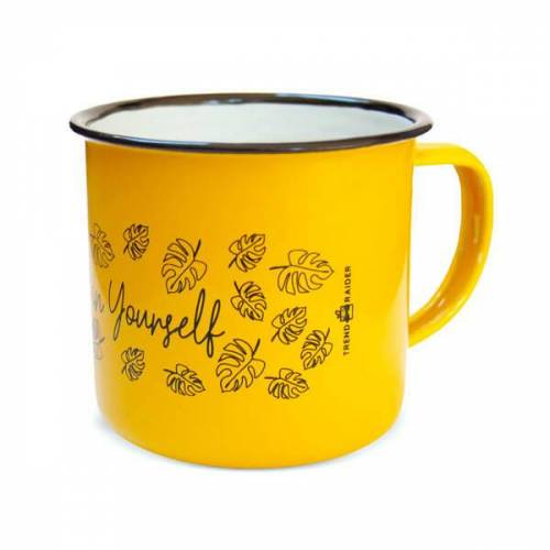 "TrendRaider Emaille Tasse ""Be-leaf In Yourself"" Von Trendraider gelb"