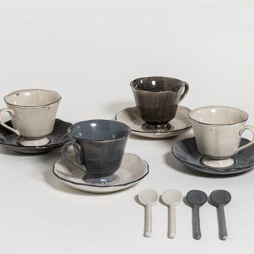 The Table Attic - Set 4 Tassen Mit Untertassen Und 4 Teelöffel mix