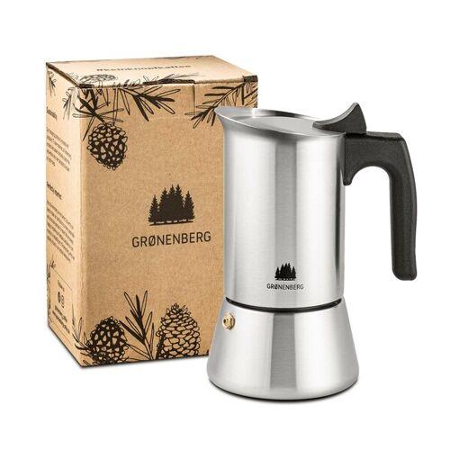GROENENBERG Edelstahl Espressokocher 4 Oder 6 Tassen (200-300 Ml), Induktion Geeignet   Espressokanne Mit Ersatz Dichtung & Anleitung  6 tassen