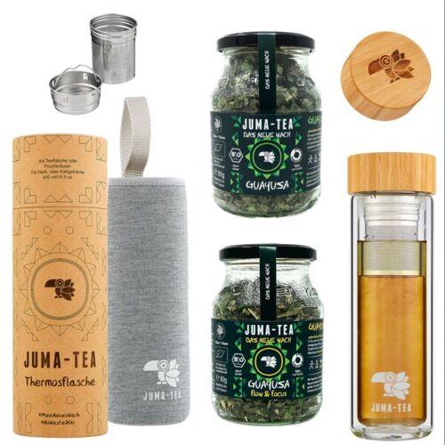 Juma-tea Guayusa Flow 2 Go Geschenkbox 1* Teeflasche To Go + 90g Guayusa Flow & Focus+ 90g Bio Kräutertee / Ilex Guayusa