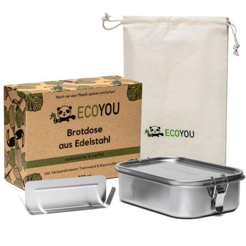 EcoYou Lunchbox Ecoyou - Auslaufsichere Brotdose Aus Edelstahl 800 Oder 1200 Ml  s (800ml)