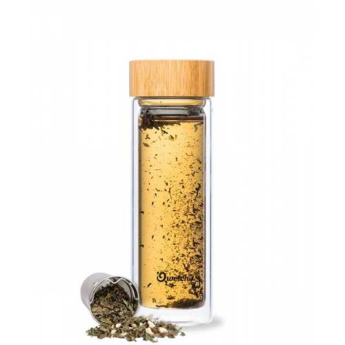 Qwetch Isolierte Glas Teekanne - Thermoskanne Mit 2 Teefiltern Und Bambusdeckel - 430ml