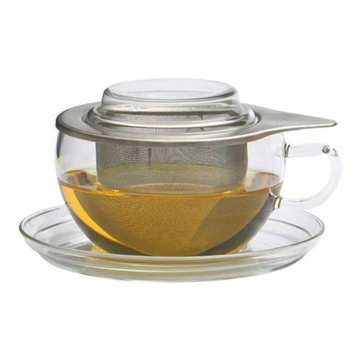 Trendglas Jena Teetasse Tea Time - Edelstahl- Oder Glasfilter Mit Unterteller, 0,4 l