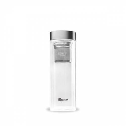 Qwetch Isolierte Glas Teekanne - Thermoskanne Mit 2 Teefiltern - 430ml