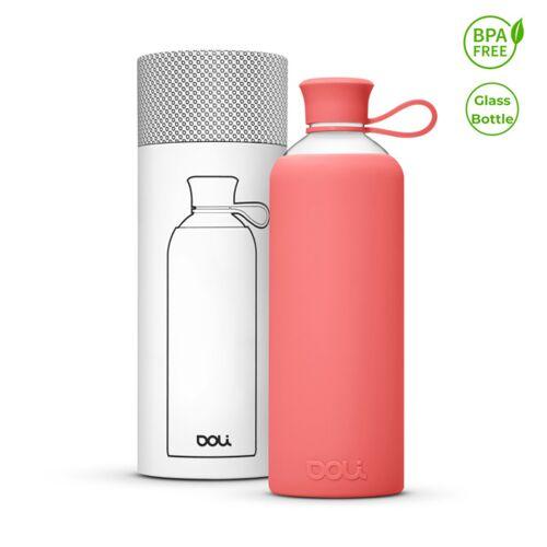 Doli Trinkflasche Glas 550ml, Umweltbewusst Bpa-frei Ohne Schadstoffe rose 0,5l