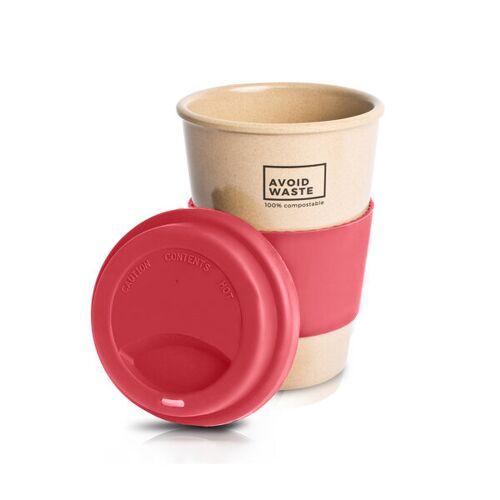 Avoidwaste Kaffeebecher To Go Aus Reishülsen, 400ml (5 Farben) rosa