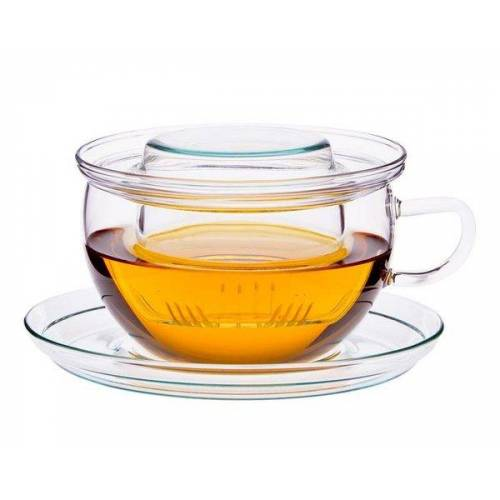 Trendglas Jena Teetasse Tea Time - Glasfilter + Unterteller, 0.4l
