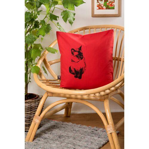 Hirschkind Bio-kissenbezug 'Katze' Rot, 40*40cm rot