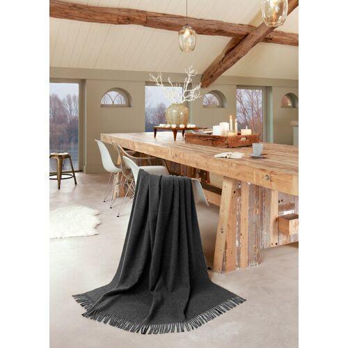 biederlack Plaid Wohndecke Fransenplaid 100 % Schurwolle graue wool