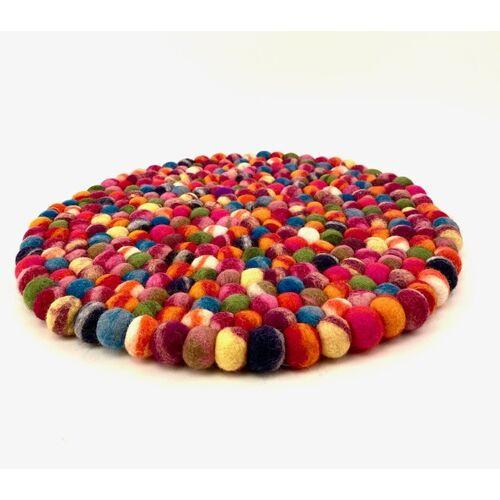 NEPALAYA Fairtrade Filzkugelsitzkissen Tie Dye Bunt 35 Cm bunt