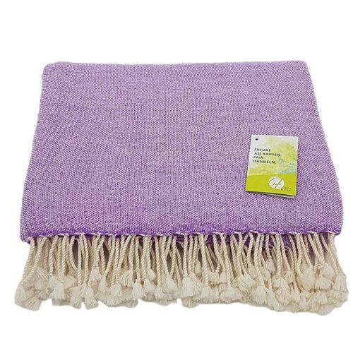 Frida Feeling Decke (100% Wolle) Im Pfeffer & Salz Muster lila