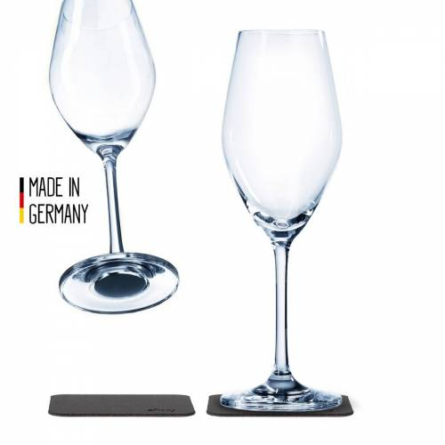 SILWY - Kristallgläser - 2er Set - 2 Metall-Nano-Gel-Pads - Champagner Gläser