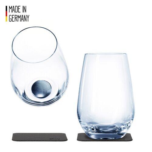 SILWY - Kristallgläser - 2er Set - 2 Metall-Nano-Gel-Pads - Longdrink Gläser
