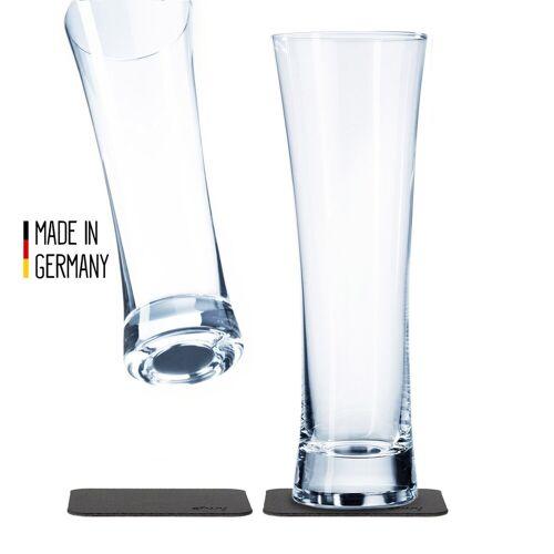 SILWY - Kristallgläser - 2er Set - 2 Metall-Nano-Gel-Pads - Bier Gläser