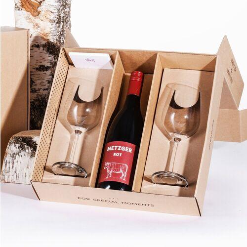 SILWY Geniesser Set - 2 x Kristallgläser Wein - Metall-Nano-Gel-Pads - METZGER Rotwein - Geschenkbox