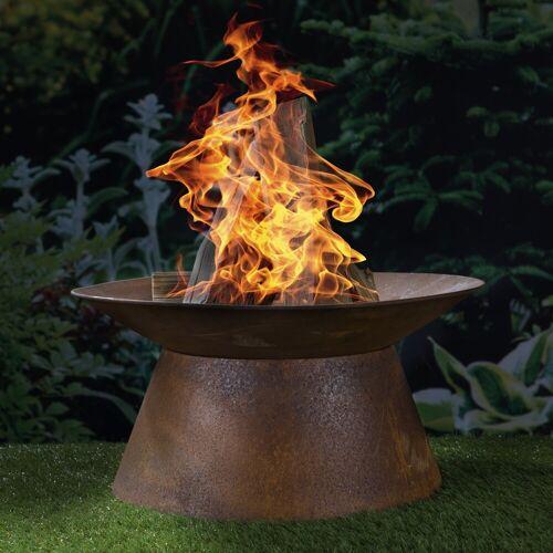 GORANDO Feuerschale - Rost-Look - 50 x 50 x 25cm - Metall
