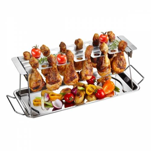 GEFU Hähnchenkeulen Rack - Edelstahl - für bis zu 12 Unterkeulen - knusprige Chicken Wings
