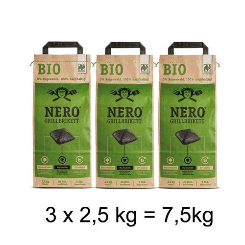 Ahead NERO BIO Grill Holzkohle Briketts - 3 x 2,5kg Sack - Garantiert ohne Tropenholz - Holz aus Deutschla
