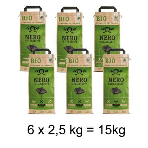 Ahead NERO BIO Grill Holzkohle Briketts - 6 x 2,5kg Sack - Garantiert ohne Tropenholz - Holz aus Deutschla