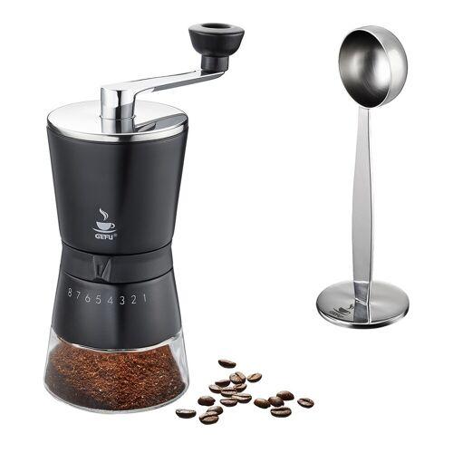 GEFU Set: Kaffeemühle SANTIAGO und Tamper mit Kaffeemaß TAMINO