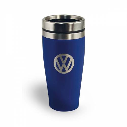 "VW Collection Thermobecher 400ml ""VW Volkswagen blau"" - Anti-Rutsch Boden - Doppelwandig - 18/8 Edelstahl"