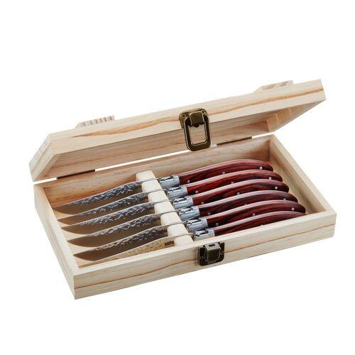 GEFU Steakmesser Set RANCHO - 6tlg. - Pakkaholz/Hammerschlag - in Holzbox
