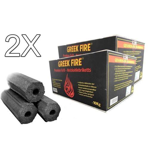 GREEK-FIRE GREEK FIRE Premium Grill Holzkohlebriketts 2 X 10 kg - BBQ Briketts