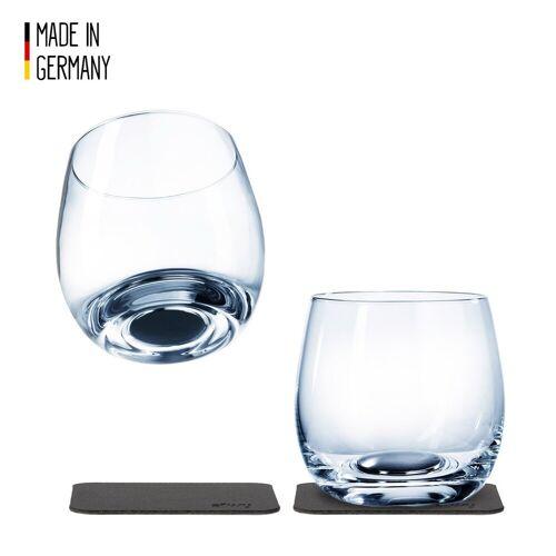 SILWY - Kristallgläser - 2er Set - 2 Metall-Nano-Gel-Pads - Whisky Gläser
