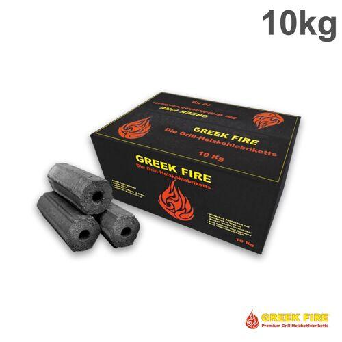 GREEK-FIRE BIG PACK - GREEK FIRE Premium Grill Holzkohlebriketts 10 kg - BBQ Briketts