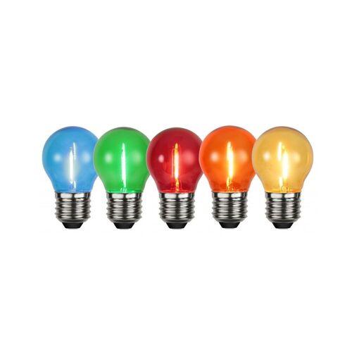 StarTrading 5x Leuchtmittel - LED - E27 - 1W - 0,7-0,9W - Set mit klaren Lampen - Rot/Grün/Blau/Gelb/Orange