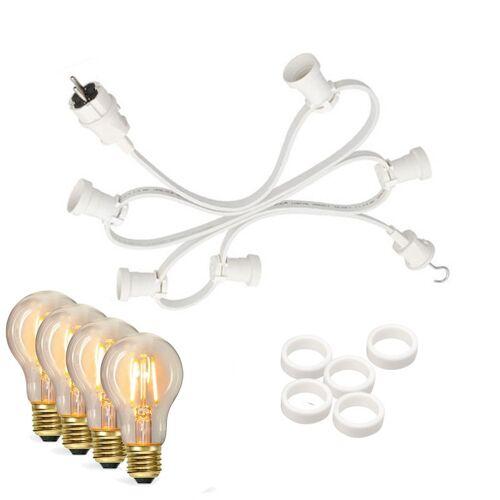 SATISFIRE Illu-/Partylichterkette 5m - Außenlichterkette weiß - Made in Germany - 10 Edison LED Filamentlampen
