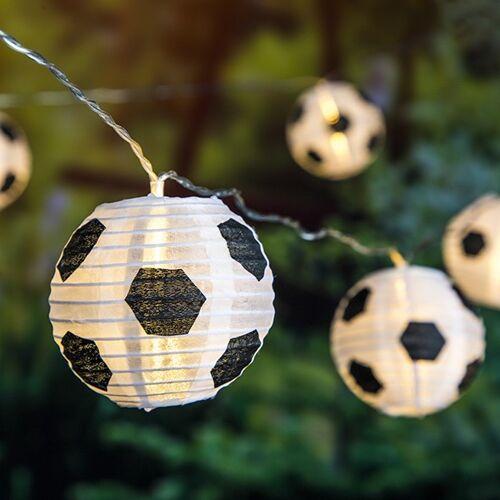 HI LED Solar Lichterkette Fußball - 10 Lampions - 5,10m - Dauer + Blinklicht