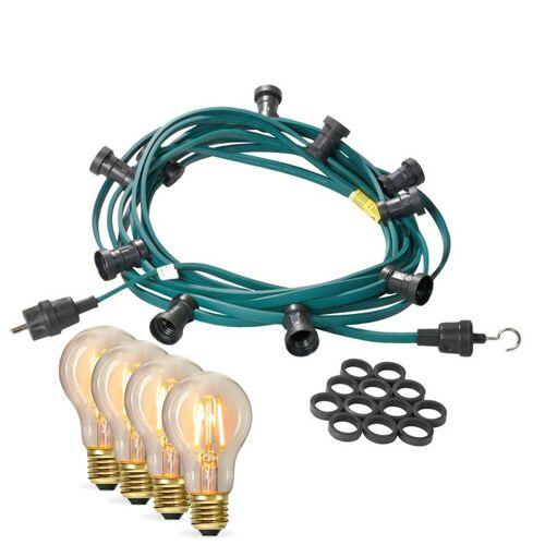 SATISFIRE Illu-/Partylichterkette 50m - Außenlichterkette - Made in Germany - 50 x Edison LED Filamentlampen